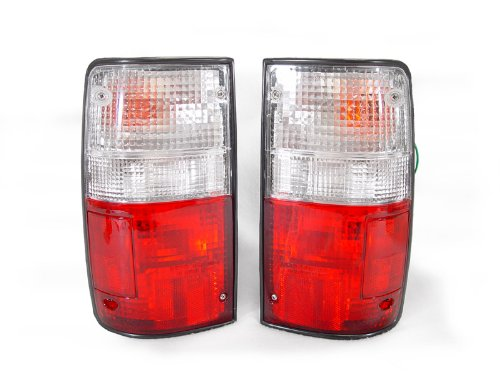 A Pair of Depo Red and Clear Lense Tail Lights - Toyota Pick-Up Truck 2WD/4WD 1989-1991