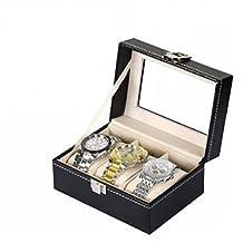 Revesun Watch Display Case Box PU Leather 3 Grid Jewelry Storage Organizer