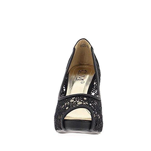Escarpins bouts ouverts noirs dentelle à talons de 10cm et plateau de 2.5 cm