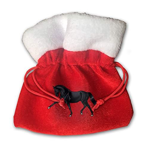 (NRIEG Horse Art Christmas Candy Bags Santa Claus Gift Treat Sacks with Drawstring Xmas Stocking Ornaments Decor Handbag)