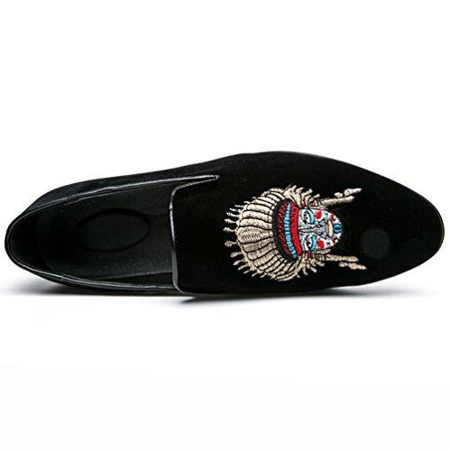 In Loafers 1 Pelle Pu Scarpe Ricamo Sneakers Uomo Slip Nero Da Anguang Mocassini Classico Guida On waPqcXZ