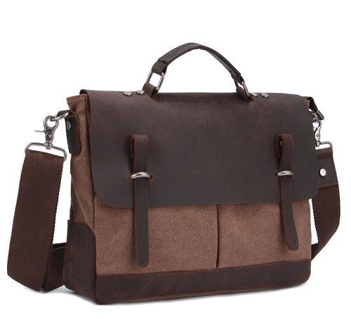 Kattee Men's Canvas Leather Satchel Messenger Shoulder Bag Briefcase