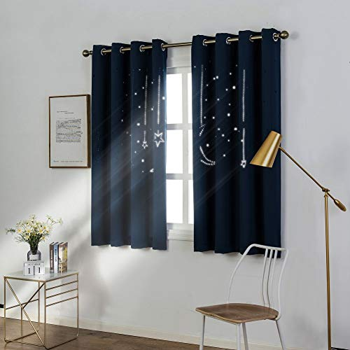 MANGATA CASA Kids Star Blackout Curtains Grommet Thermal 2 Panels for Bed Room,Cutout Galaxy Window Curtain Darkening Drapes for Nursery Living Room(Navy 52X63in)