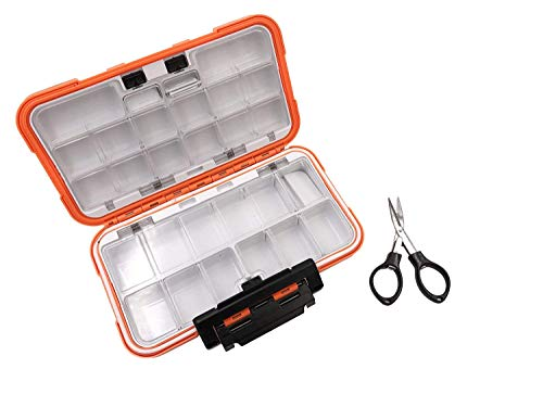 MilepetUS Waterproof Fishing Lure Boxe Spoon Hooks Baits Storage Tackle Box Containers for Casting Fishing Fly Fishing,Large/Medium/Small Lure Case Available (Orange-Large)