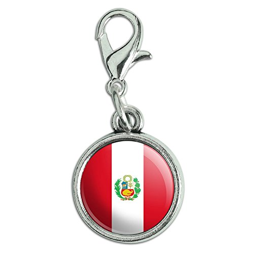 Antiqued Bracelet Pendant Charm with Lobster Clasp Country National Flag O-S - Peru With Seal National Country Flag