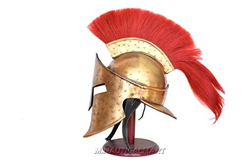 M.Nauticalmart Brass Antique Spartan 300 Helmet Grecian Historical Armor Helmet Nautical Show -
