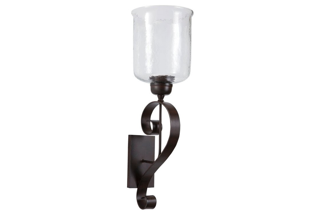 Ashley Furniture Signature Design - Ogilhinn Scroll Design Wall Sconce - Metal & Clear Glass - Traditional - Brown