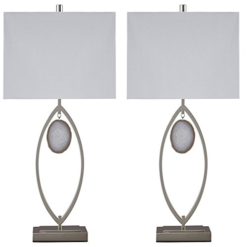 Signature Design by Ashley L207214 Contemporary Lindsy Metal Table Lamp Set with Rectangle Hardback Shades (Set of 2), Silver Finish, 2 Piece - Natural Agate Table Lamp