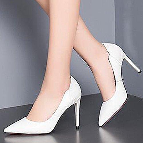 Pompes Court De Chaussures Hauts à Dress Noir Travail Blanc Talons Toe Cuir Chaussures Party Bureau White Pointu 0Y8qO