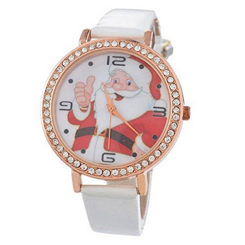 Souarts Unisex Round Rhinestone Big Dial Roman Numeral Analog Quartz Wrist Watch 22.5cm (Gold Color) (White Christmas)