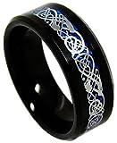Black Tungsten Carbide Ring Band Irish Celtic Knot Dragon Beveled Edge Ring