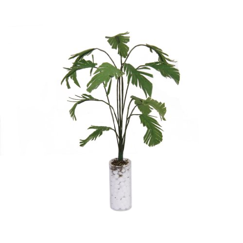 1/12 Green Banana Tree In White Bottle Garden Accessory Dollhouse Miniature Plant