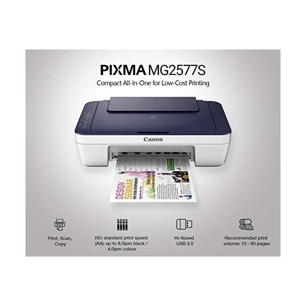 Canon PIXMA MG2577s All-in-One Inkjet Colour Printer (Blue/White) 3