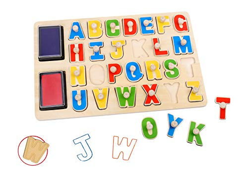 Toysters Wooden Alphabet Stamp Puzzle for Kids | Colorful Wood Letters | ABC Stampers Board Includes: 26 Stamps + 2 Washable Non-Toxic Ink Pads | Educational Learning Toys For Children, Toddlers AC238