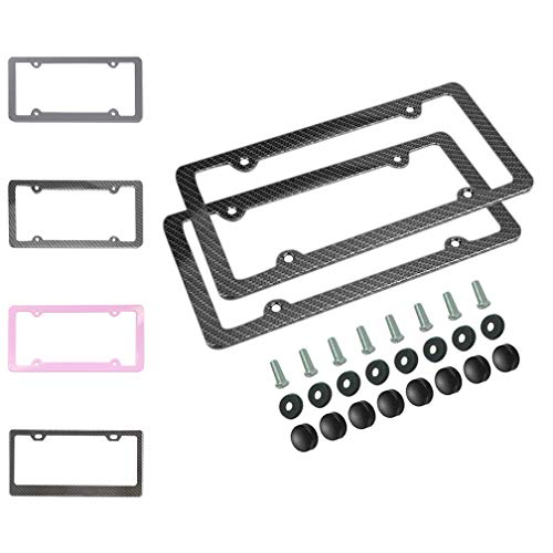 2 pcs Carbon Fiber License Plate Frames, Slim Car Licence Plate Holder Covers With Bolts,Washers And Chrome Screw Caps For US Standard (4 Holes)