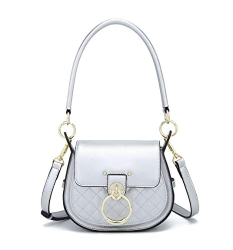 DEERWORD Women Totes Handbags Shoulder Bags PU Leather Hobo Crossbody Bags Wallets Purses Silver