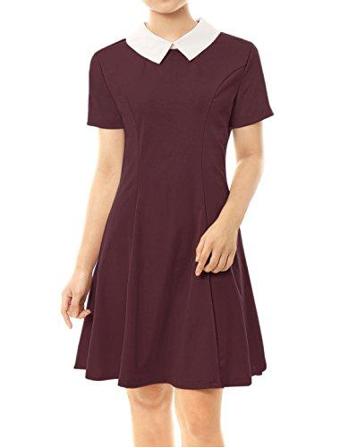 Allegra K Women's Contrast Doll Collar Short Sleeves Above Knee Flare Dress Red L (UK 16)]()