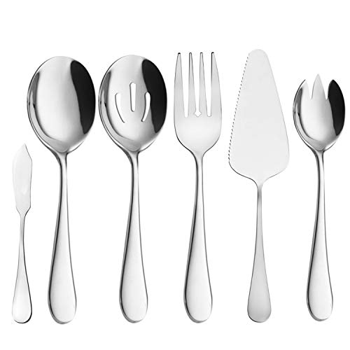 Buffet Serving Utensils, Serving Spoons, AOOSY 6 Pieces Basics Stainless Steel Serving Set Flatware Set Knife Fork Spoon Tablespoons For Home Chef Commercial Use Buffet Breakfast Dinner Set ()