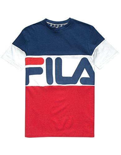 Fila Men's Vialli T-Shirt, White, Scarlet, L