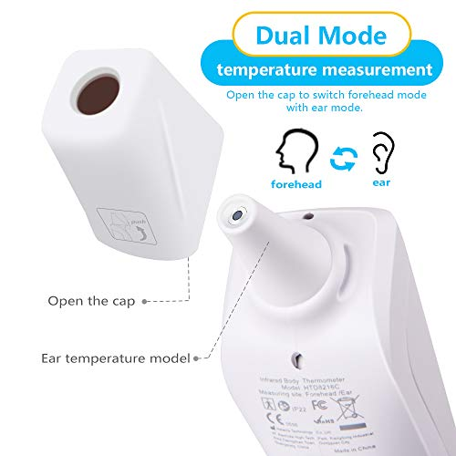 Digital Infrared Ear Forehead Thermometer No Touch for Adult Kids Baby Non Contact Thermometer Temperature Gun for Humans with Fever Alarm & 3 Colors Backlight