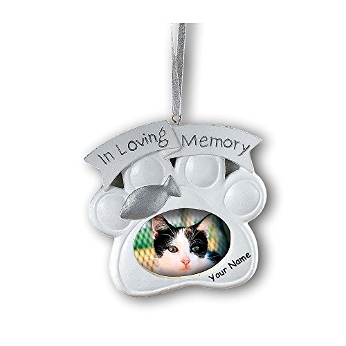 (Fun Express Personalized Loving Memory Cat Pet Memorial Christmas Ornament Photo Frame With Your Pet Name)