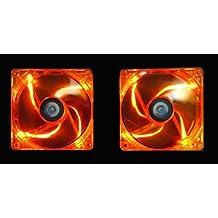 APEVIA AF212L-OG 120mm 4pin+3pin Silent Orange LED Case Fan (2-pk)