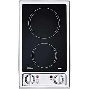 Summit CR2B120: 2-burner 120V electric cooktop with smooth black ceramic glass surface
