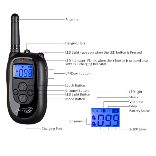 PESTON-Remote-Dog-Training-Collar-Rechargeable-and-100-Waterproof-with-Beep-Vibration-and-Shock-Electronic-Collar-1000ft-Range