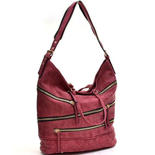 Top red Leather 2448 Women Hobo Vegan Dasein Handle Bags Shoulder Bags vBYw6aCq