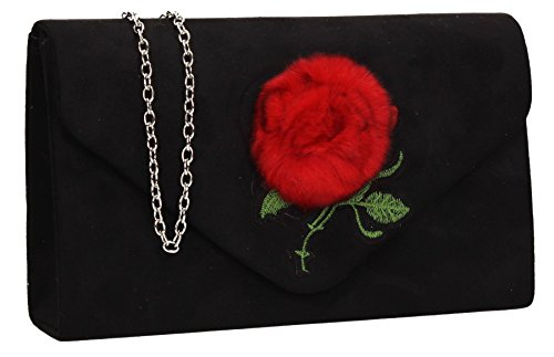 Fur Poppy Faux Womens Clutch Black Suede SwankySwans CqwUAtxPSS