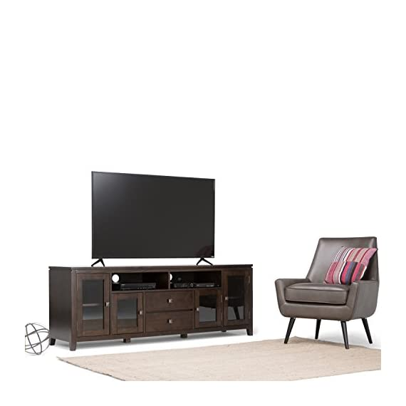 Simpli Home Cosmopolitan Solid Wood 72 inch Wide Contemporary TV Media Stand in Coffee Brown For TVs up to 80 inches - Handcrafted with care using the finest quality solid wood Hand-finished with a Dark Coffee Brown stain and a protective NC lacquer to accentuate and highlight the grain and the uniqueness of each piece of furniture Extra wide TV Stand is perfect for TVs up to 80 inches - tv-stands, living-room-furniture, living-room - 41 d946Bs2L. SS570  -