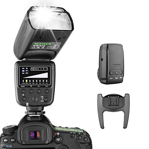 Neewer Flash Speedlite with 2.4G Wireless System and 15 Channel Transmitter for Canon Nikon Sony Panasonic Olympus Fujifilm Pentax and Other DSLR Cameras with Standard Hot Shoe (NW570) by Neewer