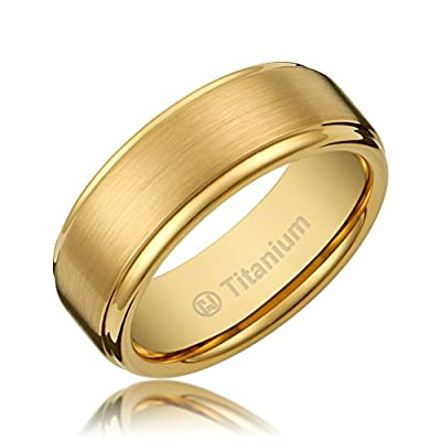 8MM Men's Titanium Gold-Plated Ring Wedding Band with Flat Brushed Top and Polished Finish Edges