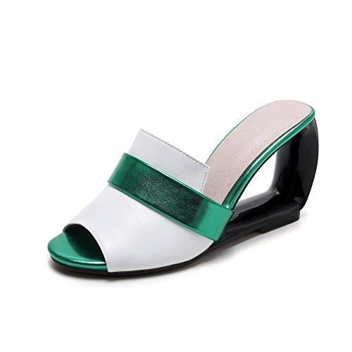 Weenfashion Womens Pull On Open Toe Tacchi Alti Pantofole Di Colore Bianco