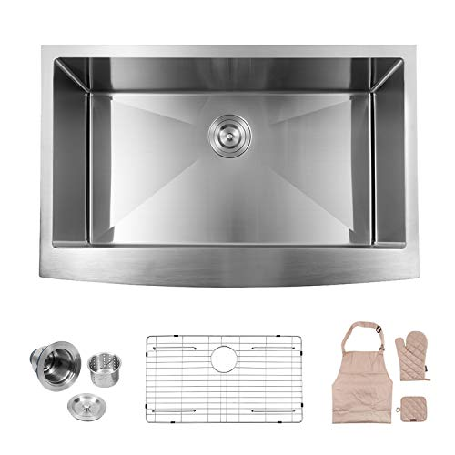 LORDEAR SLJ16003 Commercial 33 Inch 16 Gauge 10 Inch Deep Drop In Stainless Steel Undermout Single Bowl Farmhouse Apron Front Kitchen Sink, Brushed Nickel Farmhouse Kitchen Sink ()