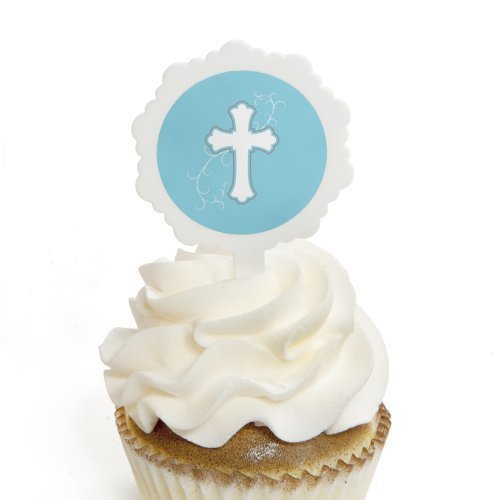 Little Miracle Boy Blue & Gray Cross - Cupcake Picks with Stickers - Baptism Cupcake Toppers - 12 Count