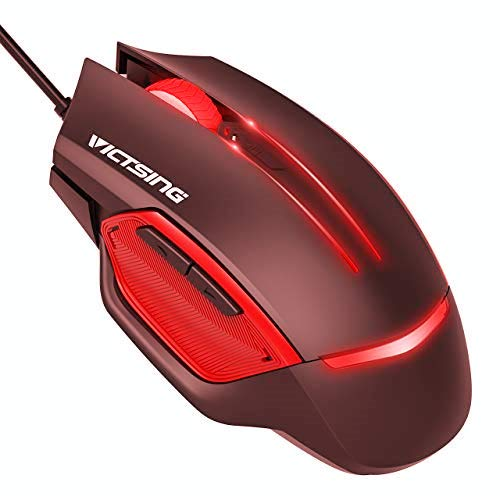 VicTsing Gaming Mouse Wired, 6 Programmable Buttons, 3200 DPI Adjustable, Optical Gamer Gaming Mice with 7 Breathing Lights, Comfortable Grip Ergonomic Optical PC Computer Gaming Mouse - Red (Best Product For Engine Knocking)