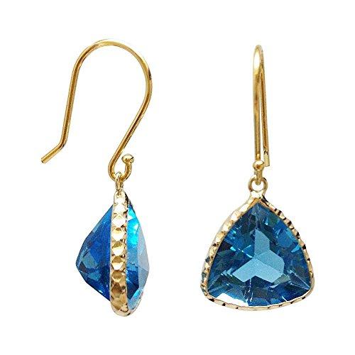 - Gem Stone King 10.00 Ctw Trillion Cut Swiss Blue Topaz 14K Yellow Gold Earrings