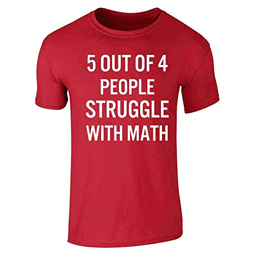 Pop Threads 5 Out of 4 People Struggle with Math Funny Retro Red XL Short Sleeve T-Shirt (Heather Cooper)