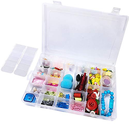 Lasten 36 Grids Clear Plastic Compartment Jewelry Organizer Storage Box with Adjustable Dividers ()