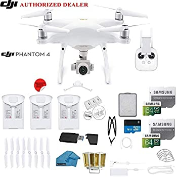 DJI Phantom 4 PRO Quadcopter Drone with 1-inch 20MP 4K Camera KIT + 3 Total DJI Batteries + 2 64GB Micro SDXC Cards + Reader + Snap on Prop Guards + Range Extender + Charging Hub (White)