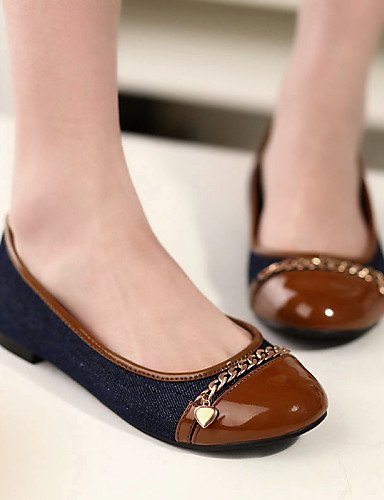 PDX/ Damenschuhe-Ballerinas-Büro / Kleid / Lässig-Kunstleder-Flacher Absatz-Komfort / Rundeschuh-Braun / Weiß , brown-us5 / eu35 / uk3 / cn34 , brown-us5 / eu35 / uk3 / cn34