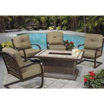 Kirkland Signature Garden Patio Furniture Set Alumicast 5 Piece Fire Place  Chat Set + Cover
