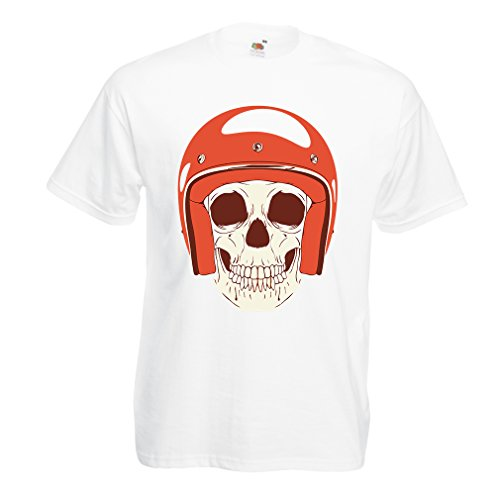 T Shirts for Men Moto Skull with Cap Helmet- Motorcycle Clothing, Motorbike Apparel, Riding Gear (XXX-Large White Multi -