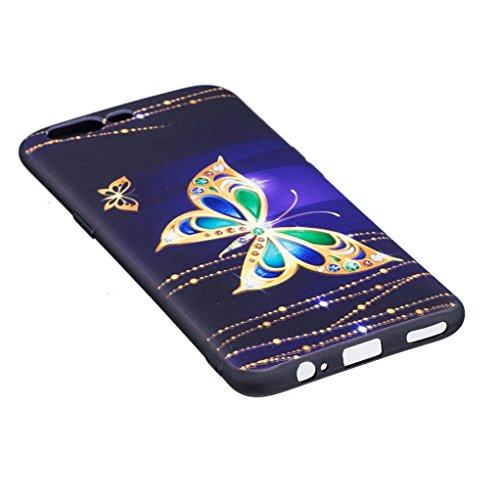 Trumpshop Smartphone Carcasa Funda Protección para Oneplus 5 [Flor del lirio] Serie Talla Ultra Suave Flexibles TPU Silicona Resistente a arañazos Caja Protectora Mariposa de oro