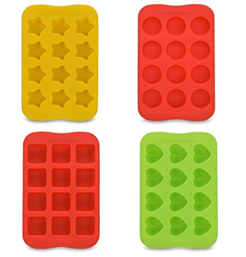 (Mini Silicone Chocolate Mold,4pcs Candy Baking Molds,Jello,Gummy & Ice Cube Trays for Making Cake Muffin Cupcake Gumdrop Jelly - Heart, Star, Round & Browniel, Non Stick)