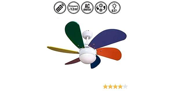 FABRILAMP Ventilador de Techo con luz y Mando a Distancia Serie Delfín Multicolor: Amazon.es: Hogar