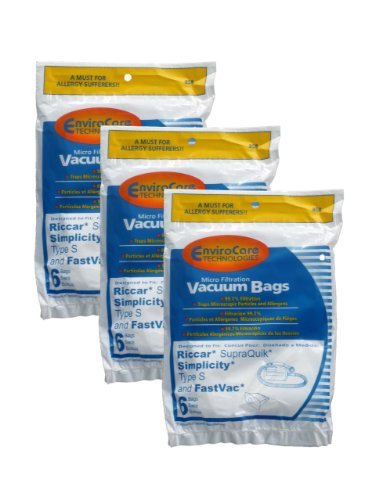 EnviroCare Replacement Vacuum Bags for Riccar SupraQuik and Simplicity Type S and Fastvac 18 pack