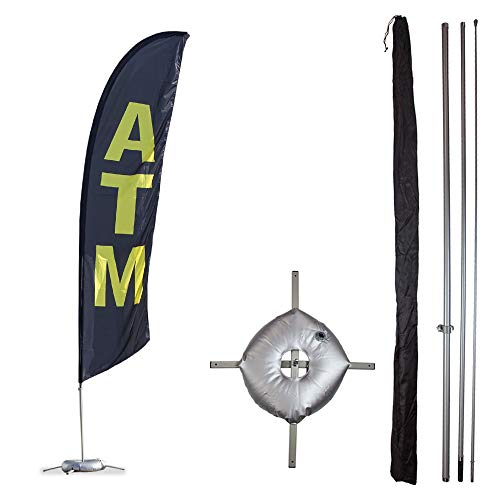 (Vispronet Premium ATM Feather Flag Kit - Includes 13ft Sectional Aviation Grade Fiberglass Poles, Black ATM Flag, Cross Base and Weight Bag, and Pole Sleeve Bag)