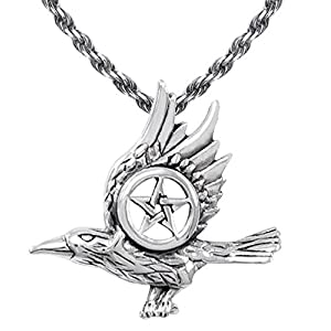 US Jewels And Gems 0.925 Sterling Silver Raven with Pentagram Wiccan Pendant Necklace